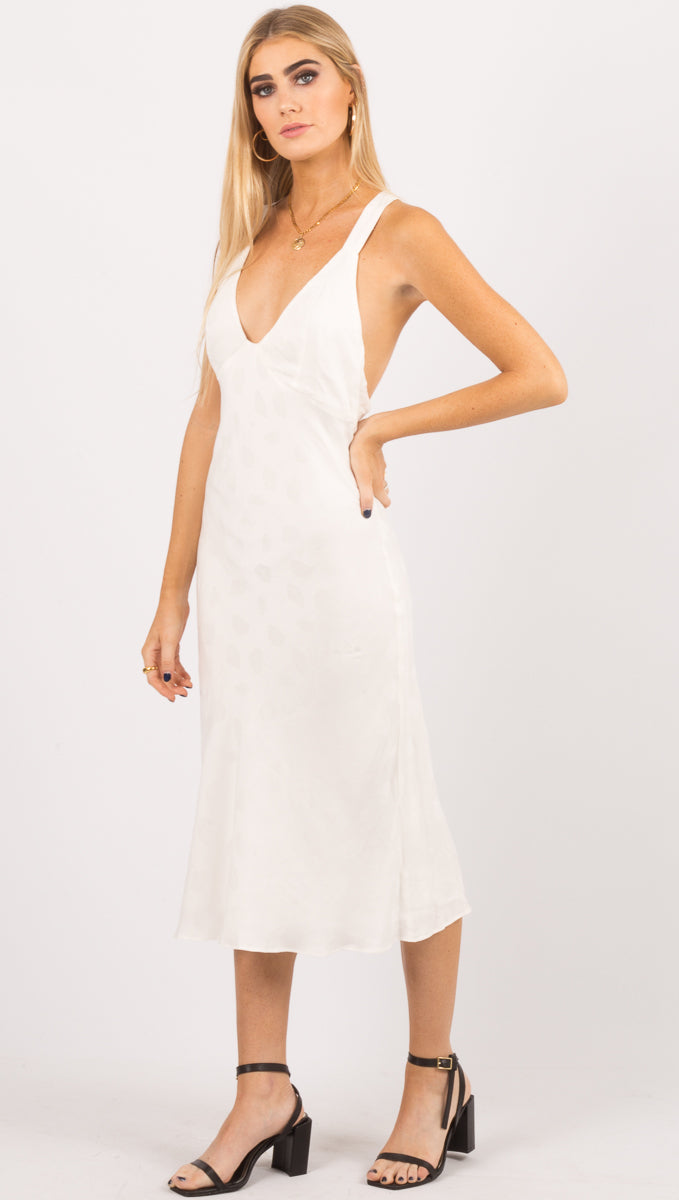 Third Form White Cross Back Midi Dress