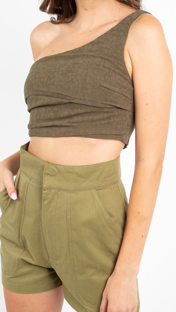 Third Form Army green one shoulder crop