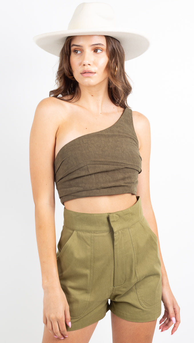 Drifter One Shoulder Top - Army