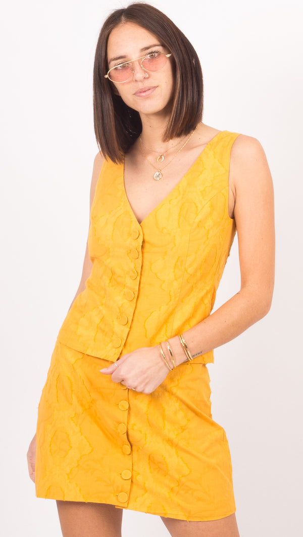 Third Form Yellow Button Down Tank Top