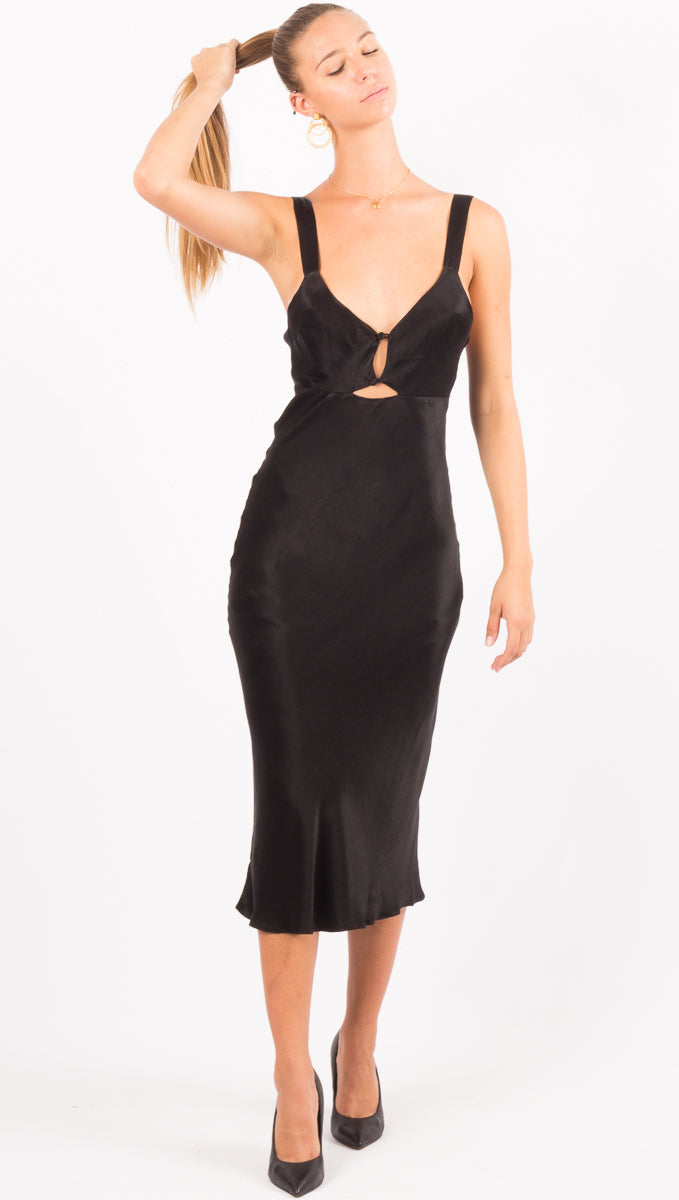 Intrigue Bias Slip Dress - Black