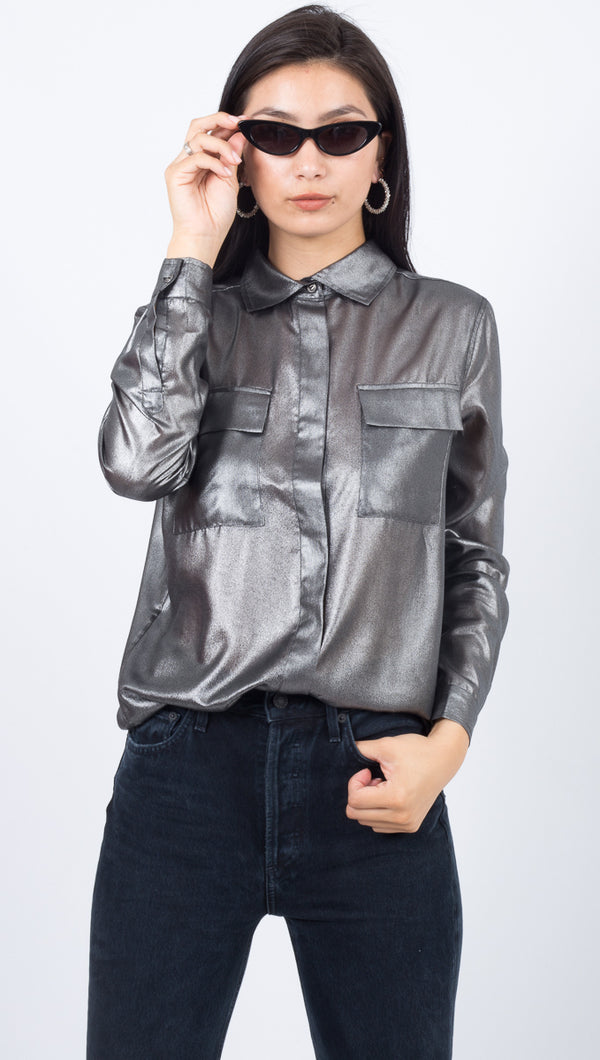 Third Form Gray Metallic Button Down Long Sleeve Shirt