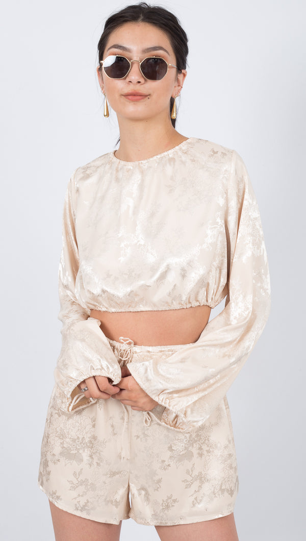 Third Form Oriental Cream Satin Drawstring Cropped Long Sleeve Blouse