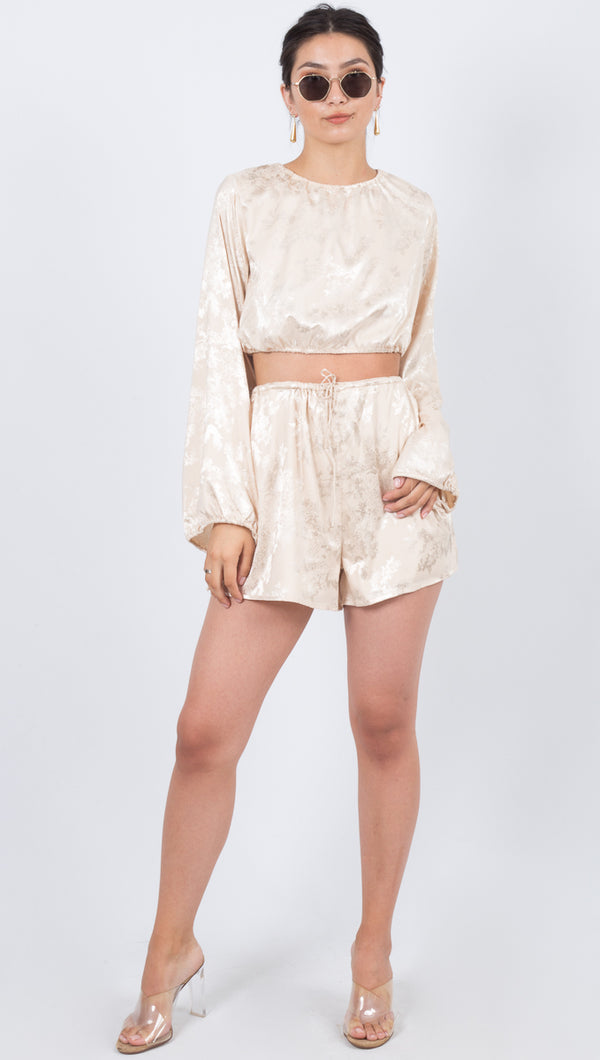 Third Form Oriental Cream Satin Loose Drawstring Short