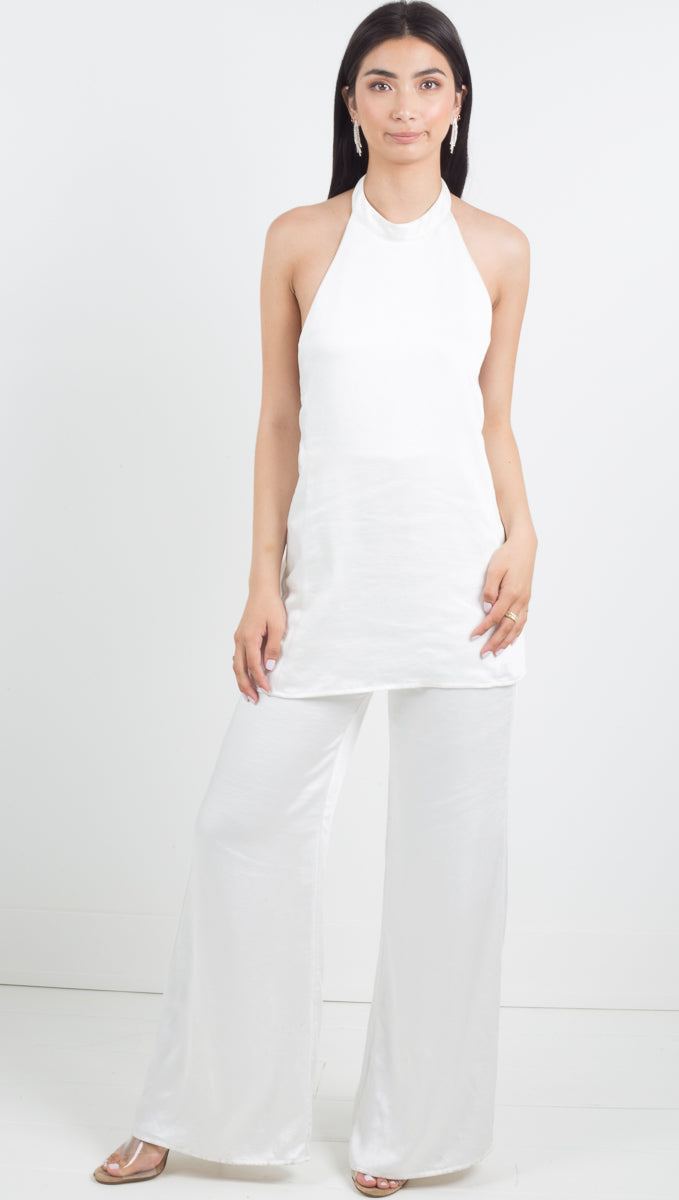 Outlaw Tie Halter Jumpsuit - Off White