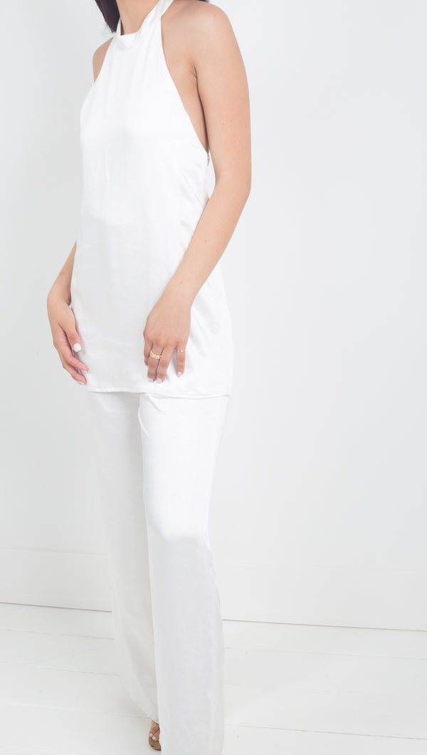 Third Form white silky halter jumpsuit