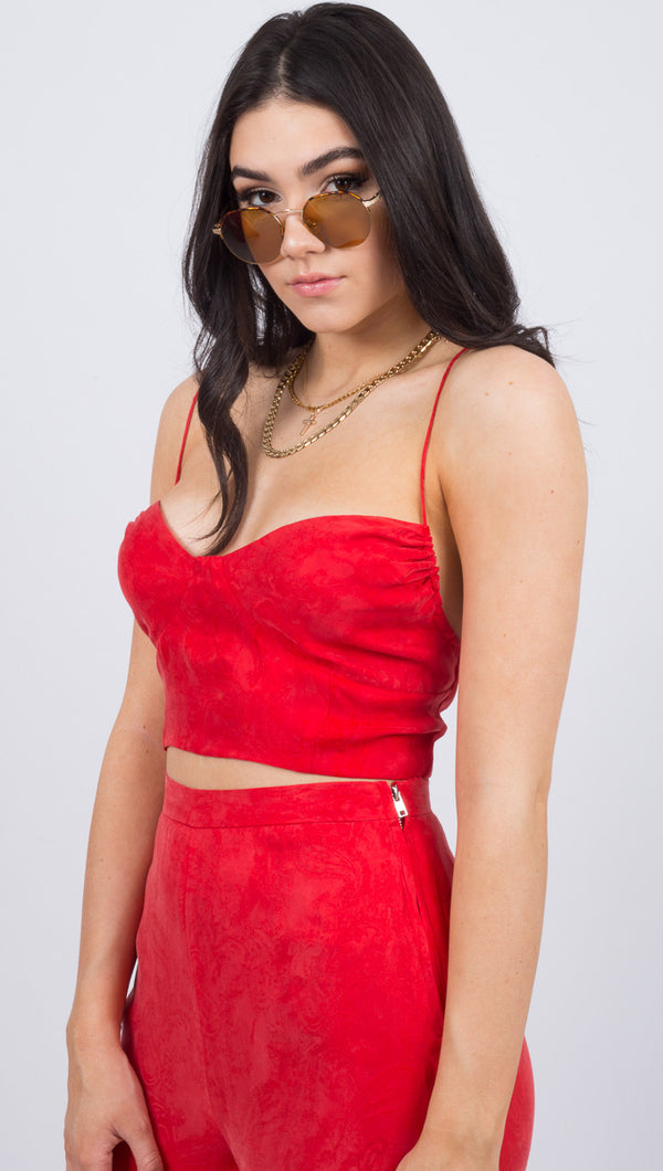 Third Form Red Paisley Print Spaghetti Strap Crop Top