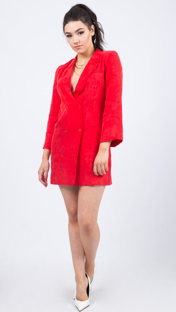 Paisley Soft Blazer Dress - Flame