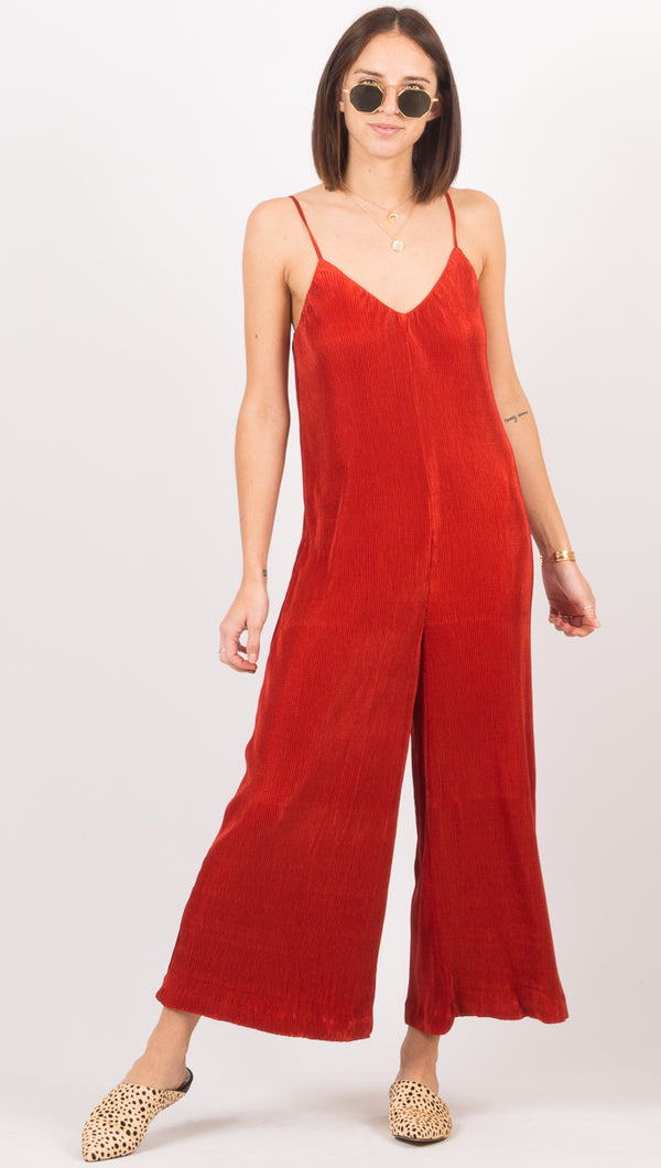 Third Form Red Pleated Jumpsuit