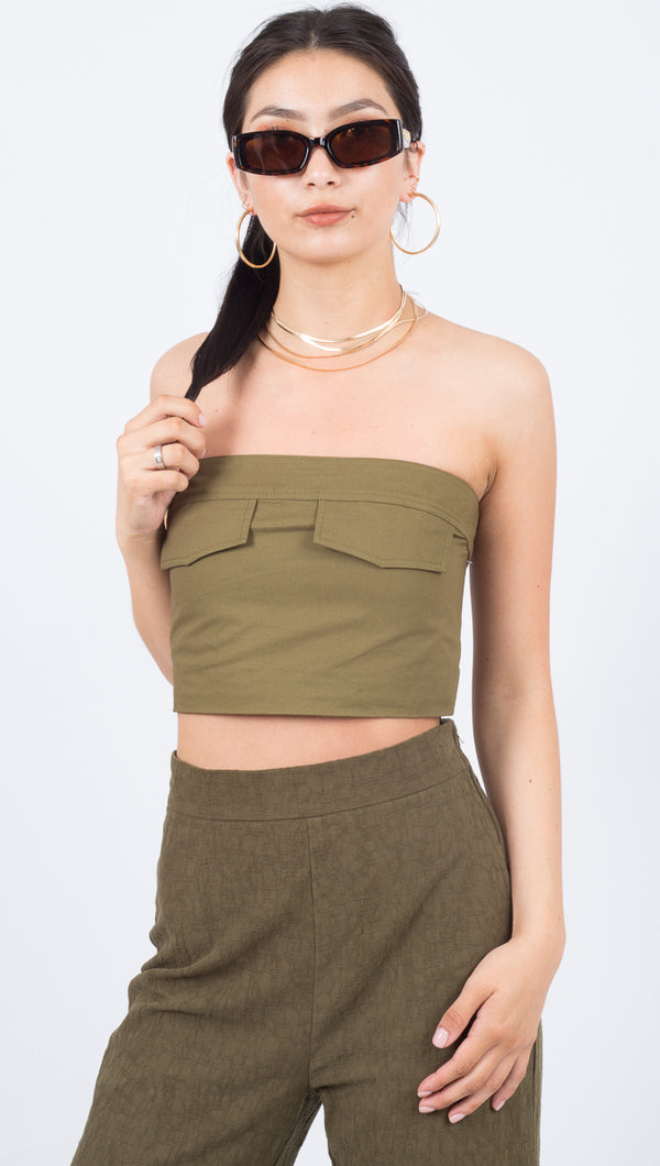 Third Form Linen Army Green Pocket Strapless Crop Top