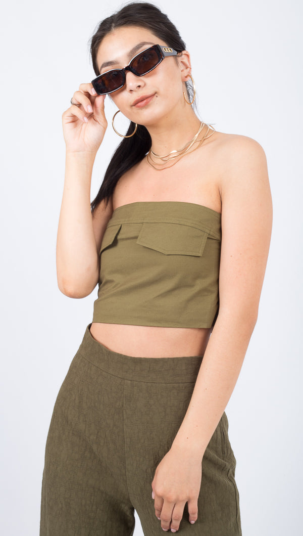 Pocket Crop Top - Army