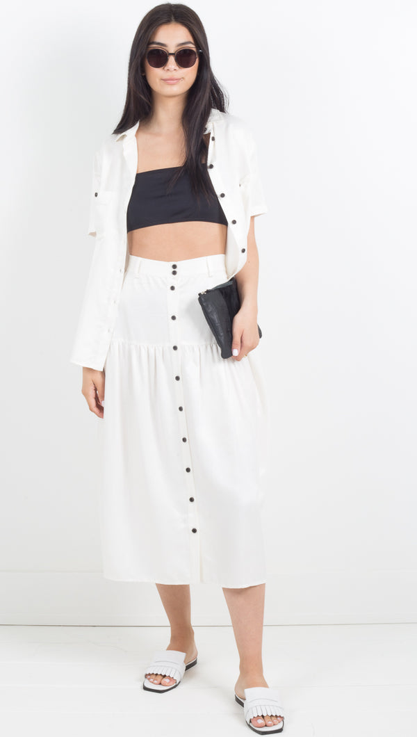 Vice Versa Midi Skirt - Off White