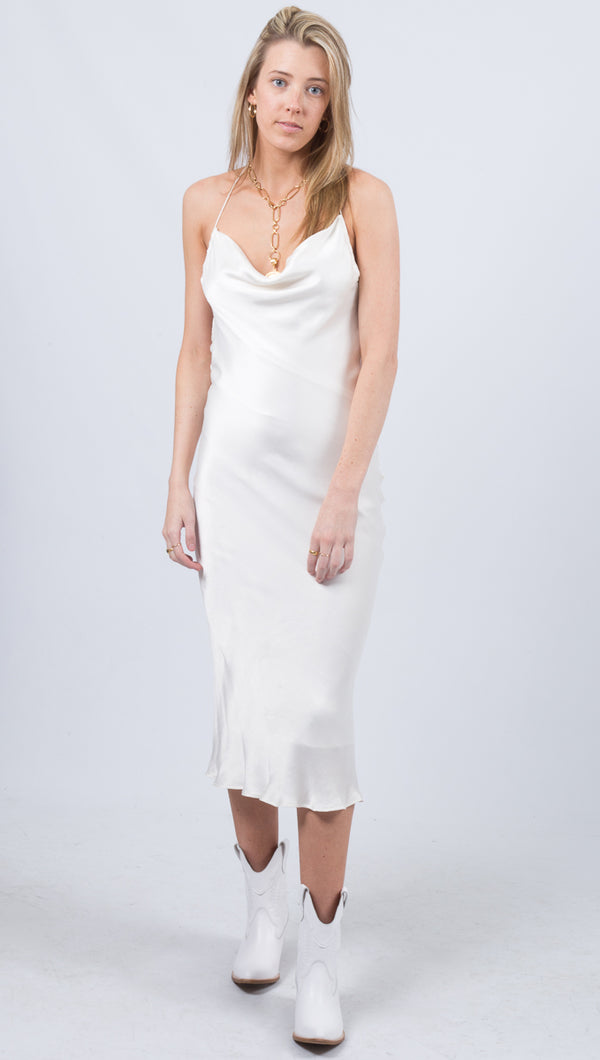 Waterfall Bias Dress - Ivory