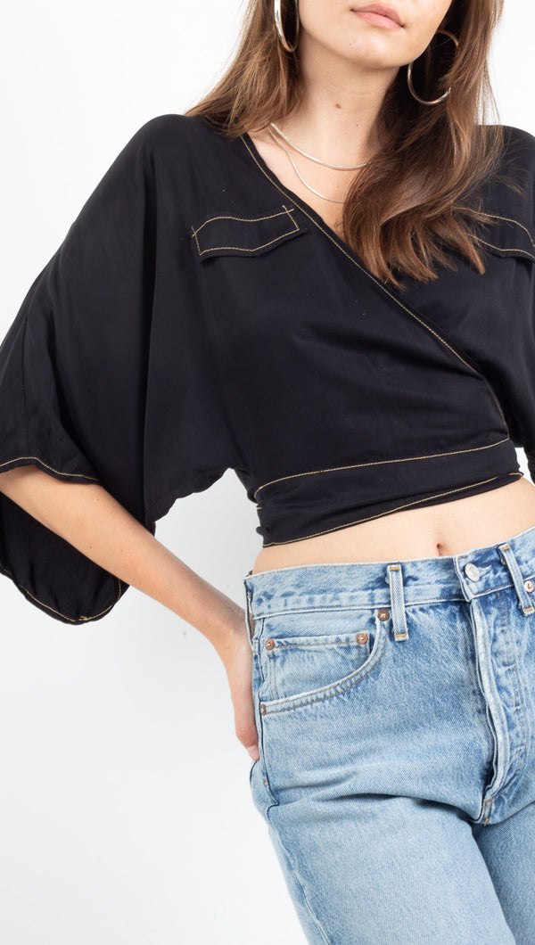 Third Form black cropped wrap blouse with wide sleeves