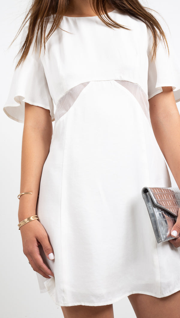 Third Form White Short Sleeve Tee Dress with Sheer Cutout Details