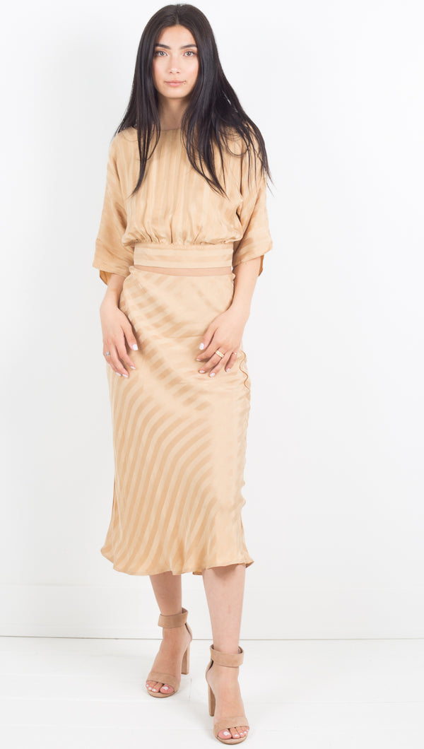 Tan Bias Midi Skirt - Tan