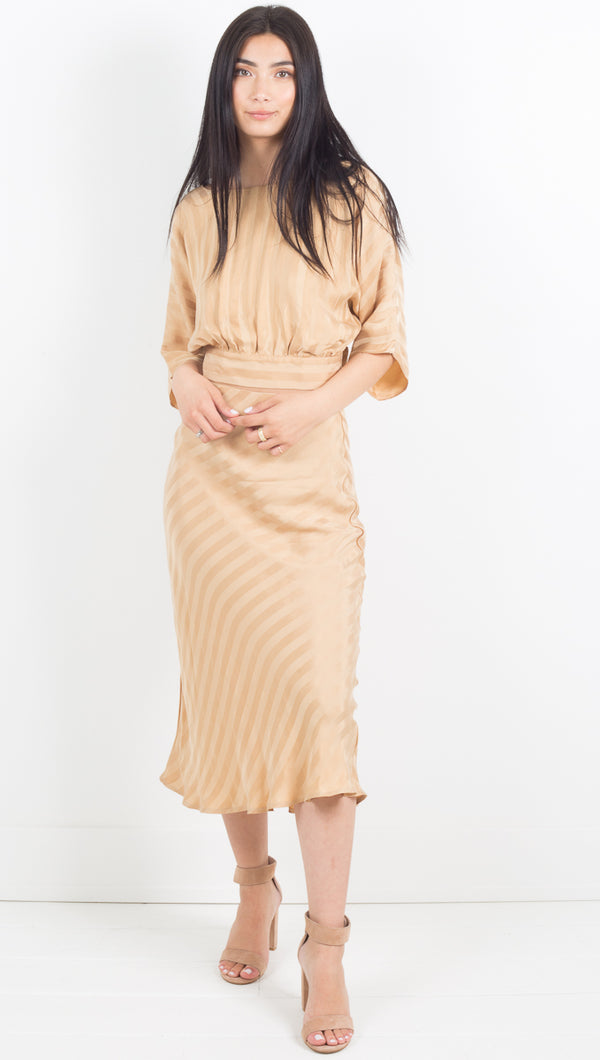 Third Form Tan Silk Midi Skirt