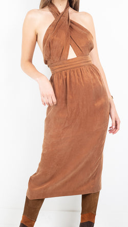 Third Form brown criss cross halter midi dress