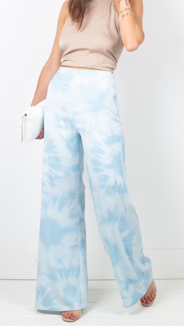 Third Form Blue Tie Dye Flare Trousers