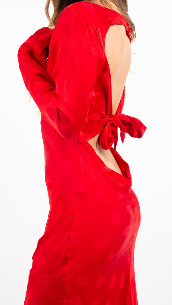 Third Form red long sleeve open back maxi dress