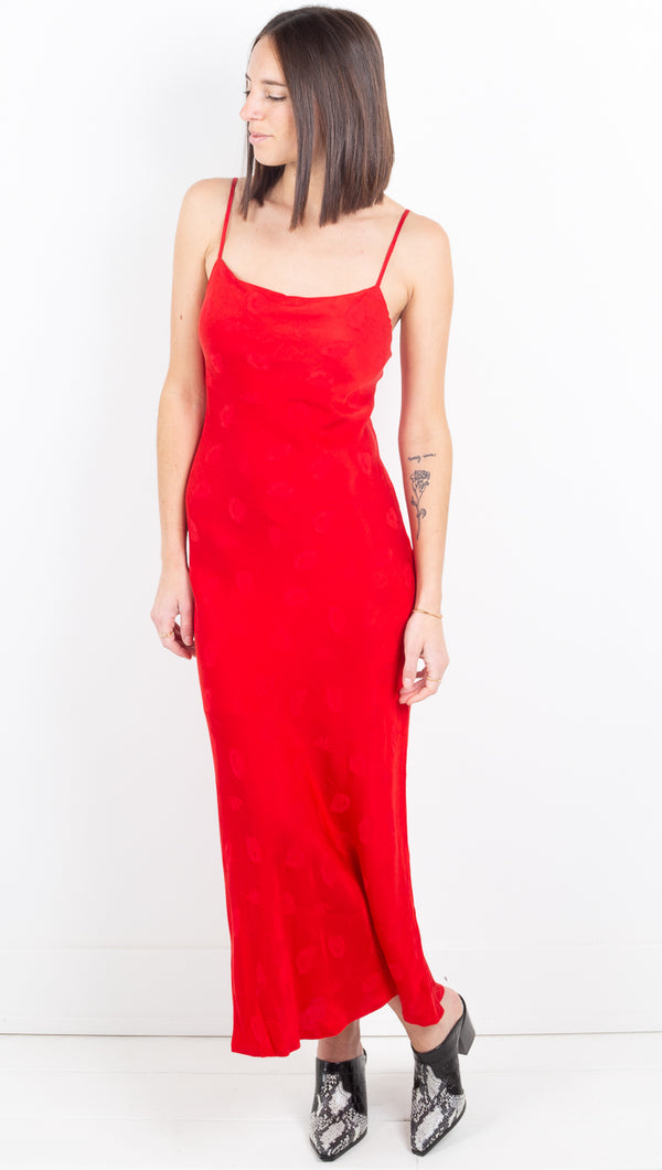 Mosaic Bias Slip Dress - Red Rose