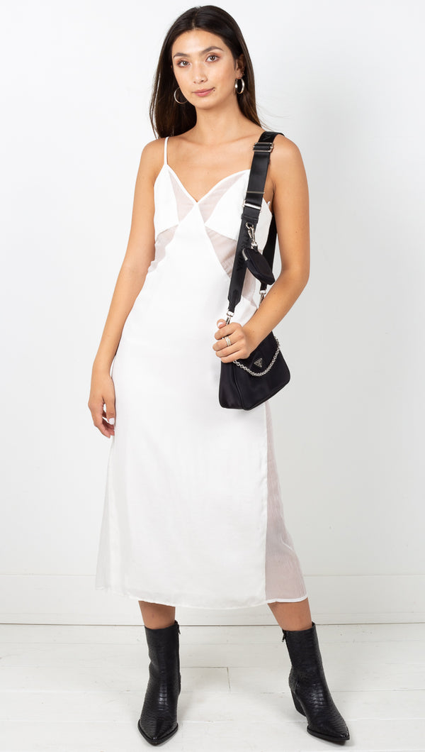 Peek Slip Dress - White
