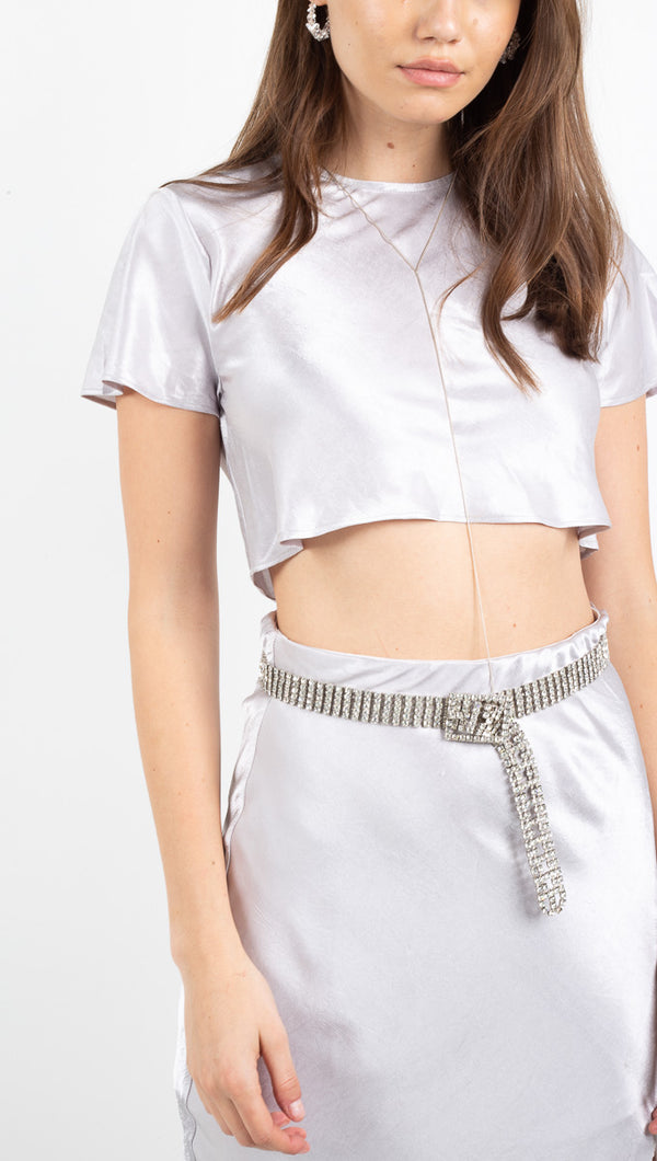 Orbit Bias Crop Tee - Silver