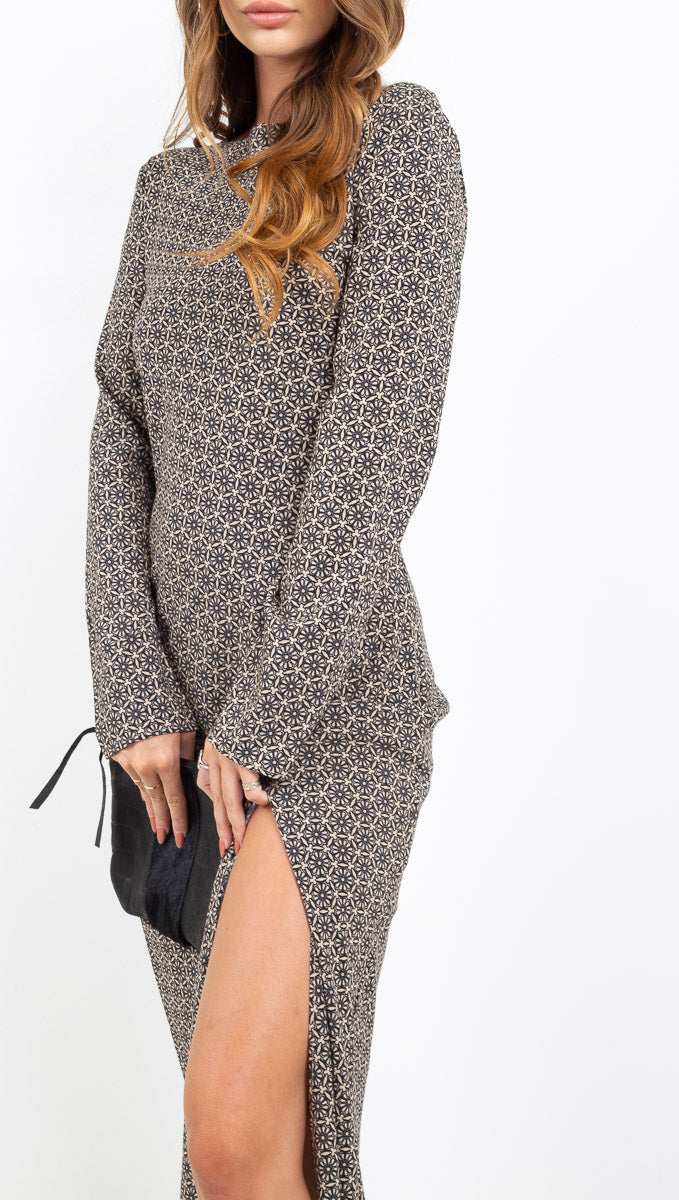 Third Form geometric print long sleeve open back maxi dress