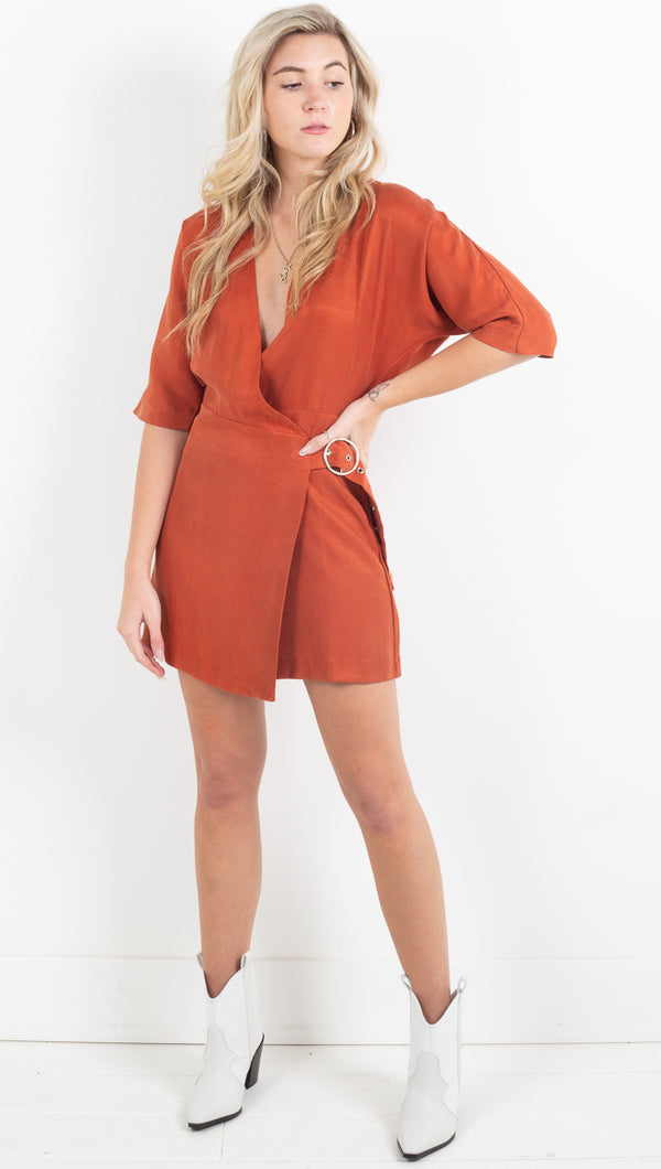 Eclipse Wrap Dress - Rust