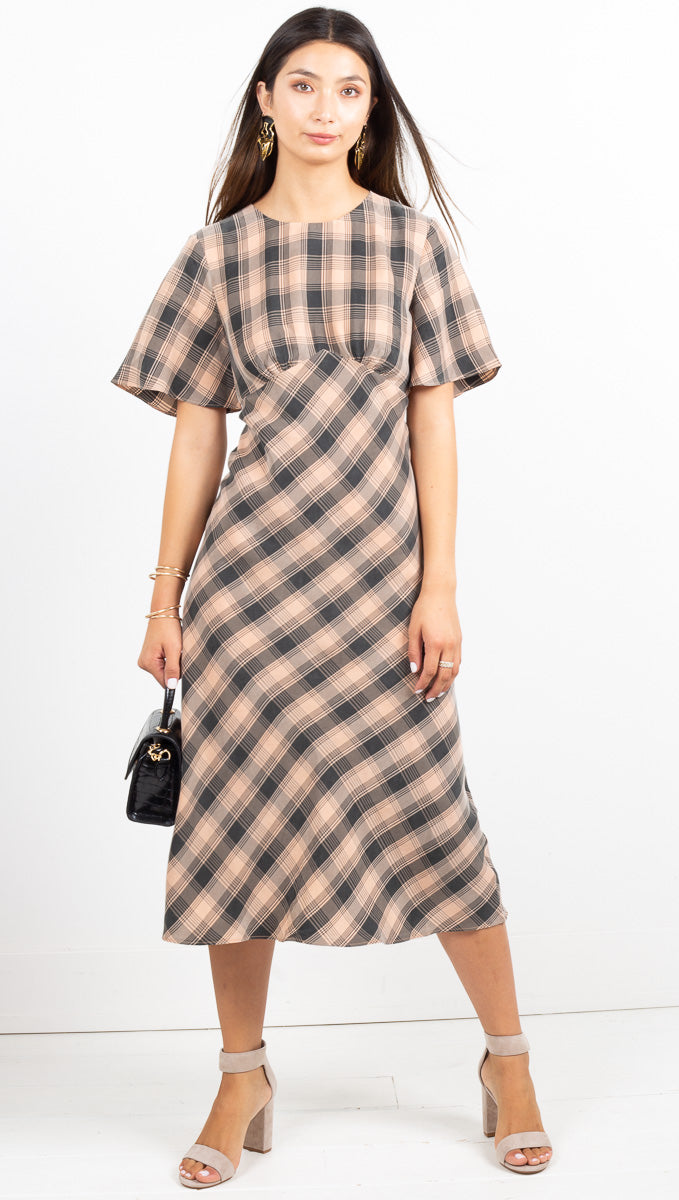 Checking Out Bias Tee Dress - Peach Check