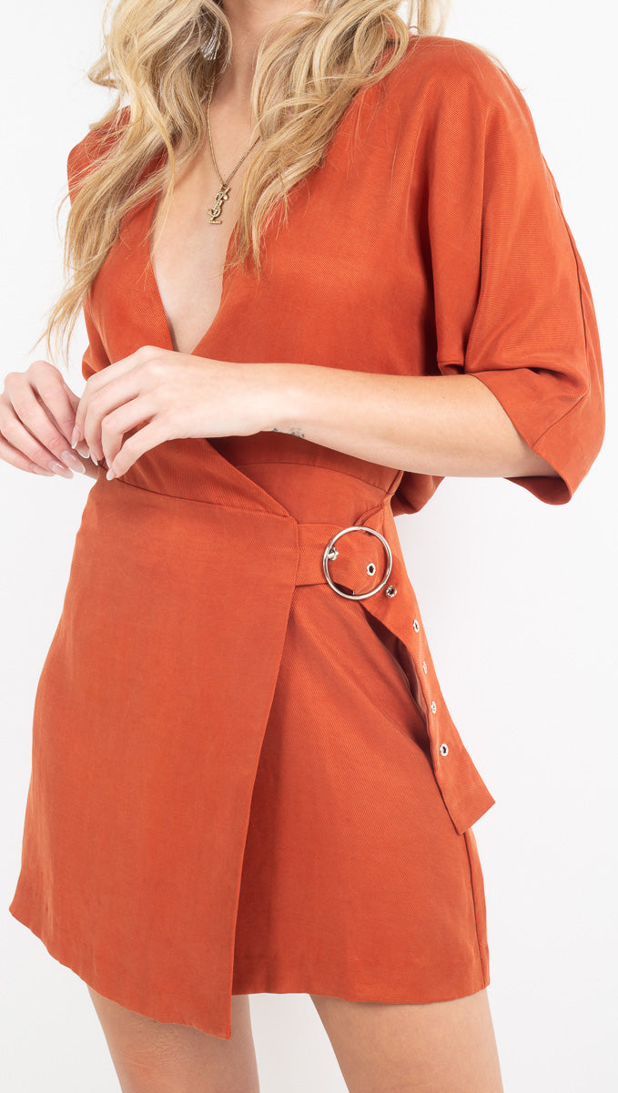 Third Form Rust Belted Dress