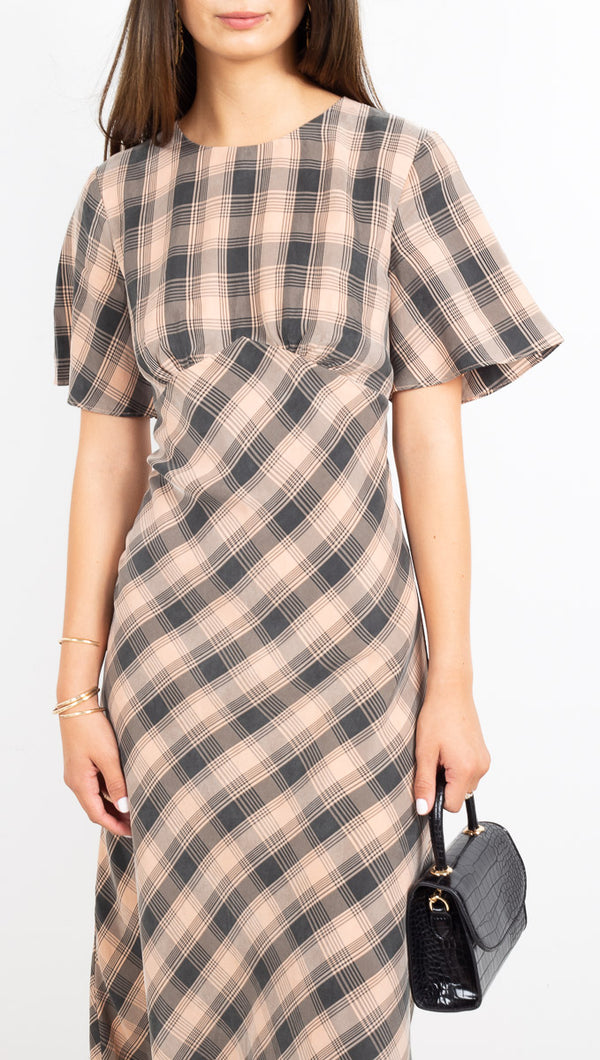 Third Form Peach and Black Plaid Midi Dress with Flutter Sleeves
