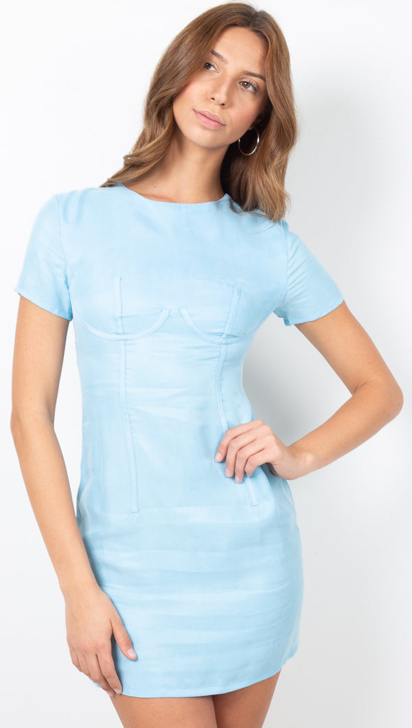 Corset Mini Tee Dress - Sea