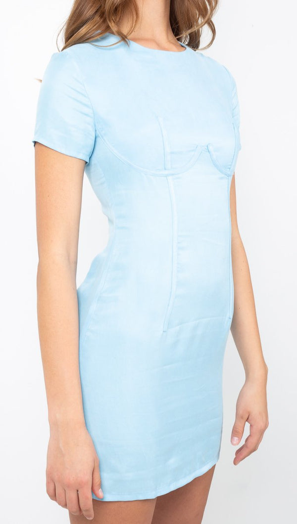 Third Form Baby Blue Short Sleeve Corset Mini Dress