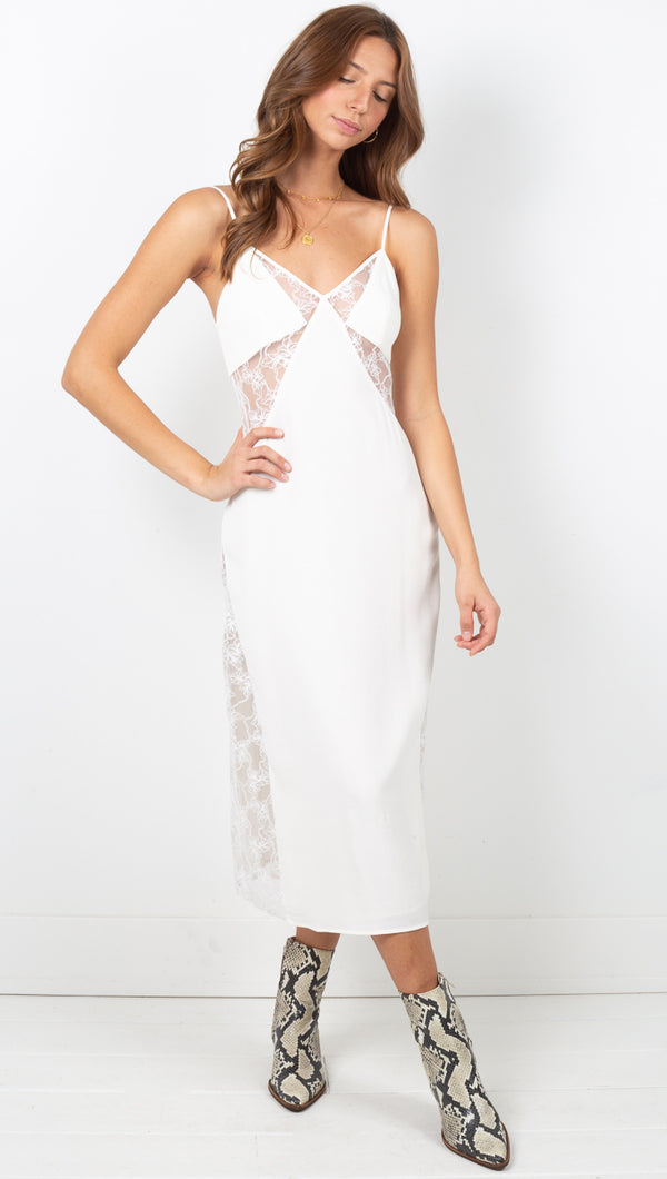 Look In Lace Slip Dress - Cream