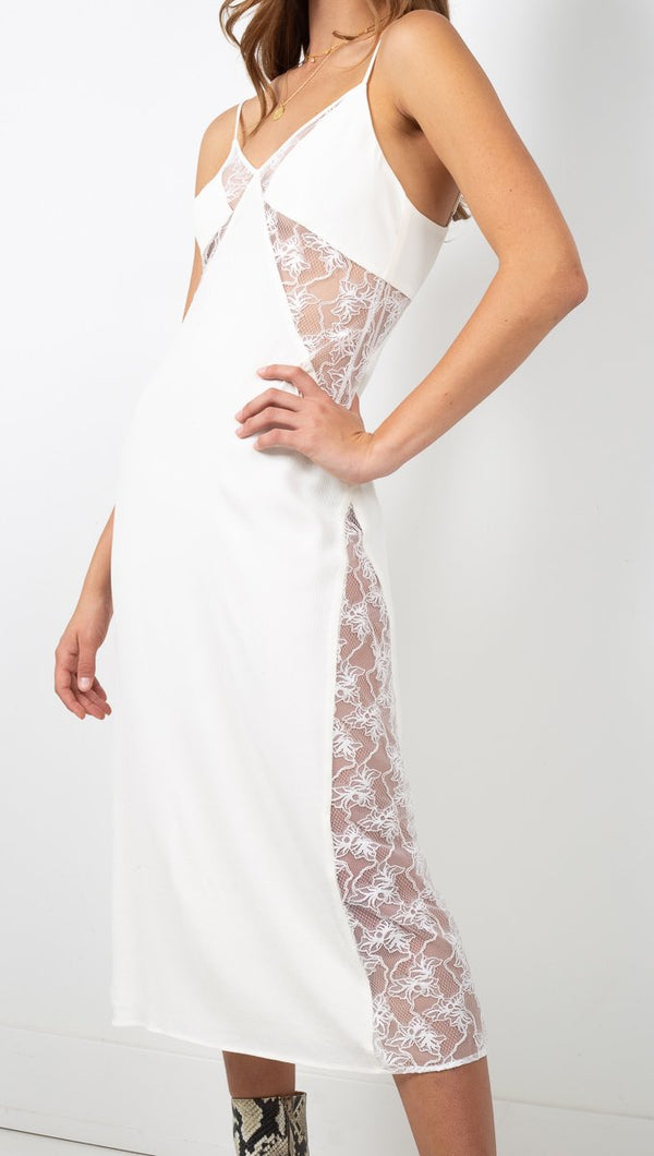 Third Form White Lace Midi Dress