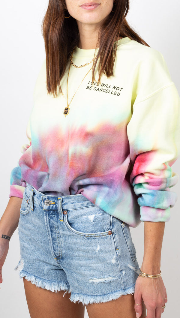 Van De Vort Yellow and Rainbow Tie Dye Sweatshirt