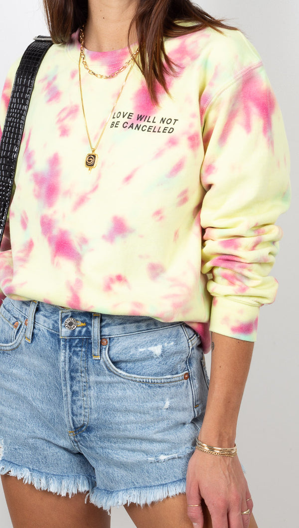Van De Vort Yellow and Pink Rainbow Tie Dye Sweatshirt