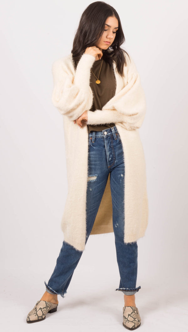 vagabond Cream Fuzzy Sweater Cardigan