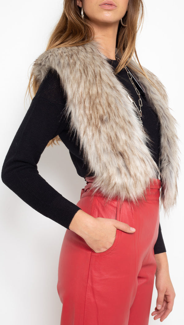 Unreal Fur Beige Faux Fur Neck Wrap