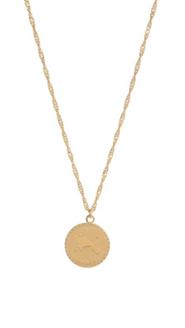 Cam Jewelry small gold chain with zodiac coin charm