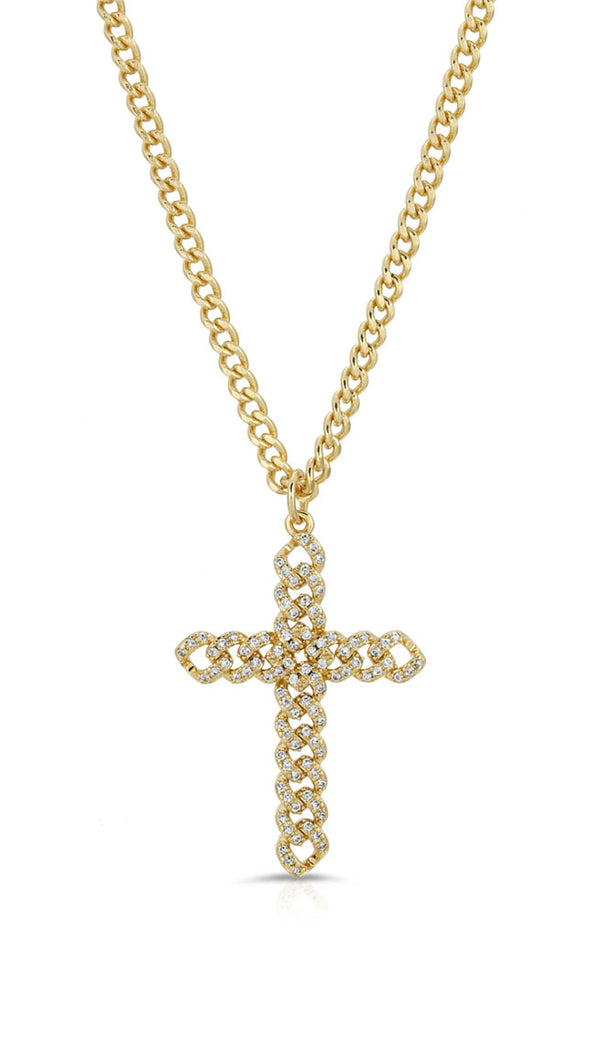 braided cross necklace in gold