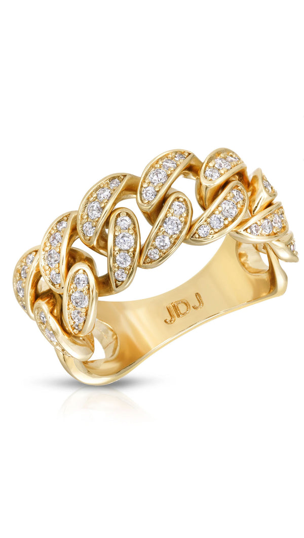 braided ring with gold and cubic zirconia