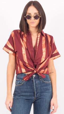 Vacate The Label Maroon Stripe Button Down Shirt