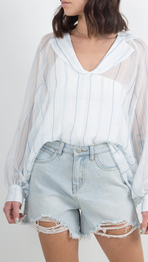 Currency Dolman - Light Blue/White