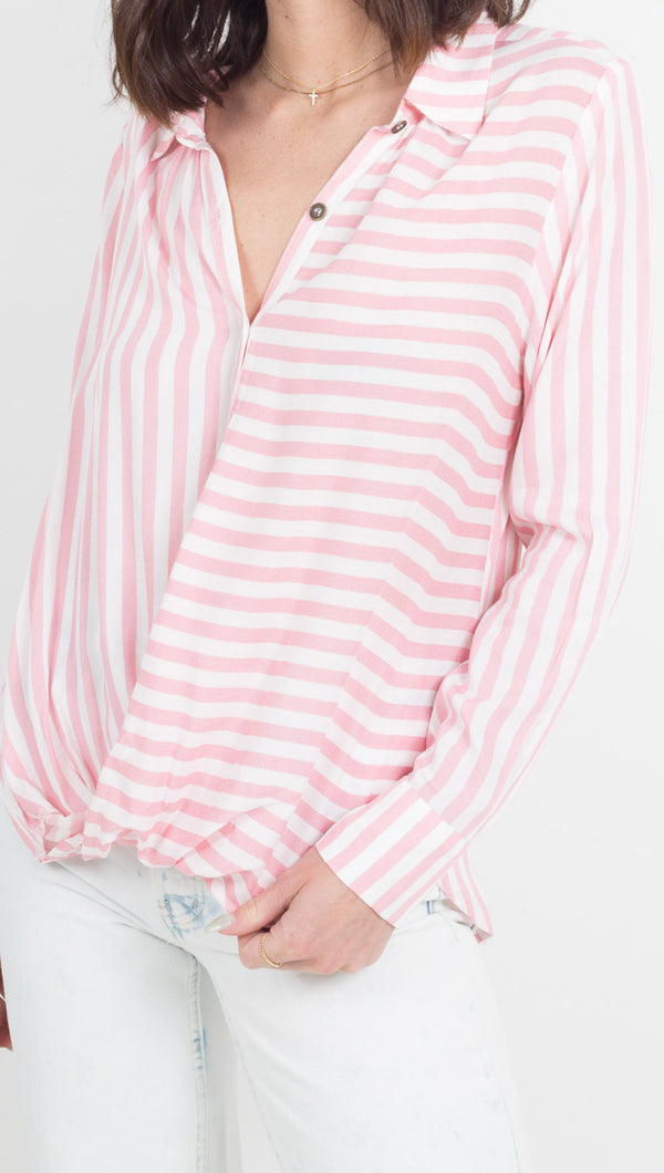 Vacate The Label Red and White Striped Long Sleeve Blouse