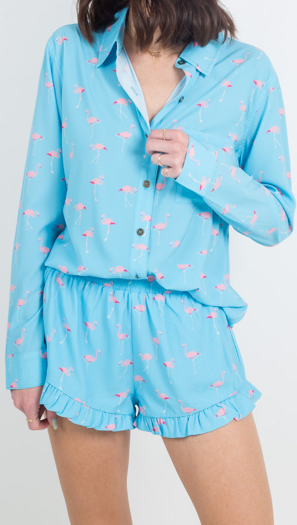 Vacate The Label Blue Button Down Long Sleeve with Flamingo Print