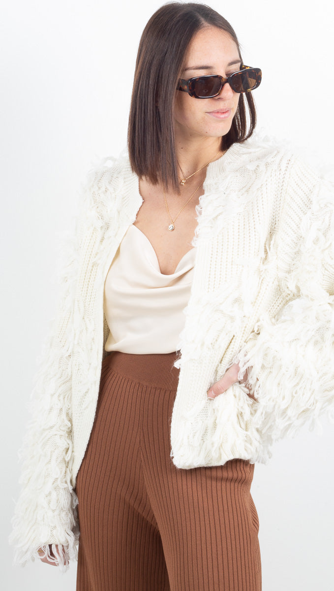 Cozy Holiday Tassel Sweater - Off White