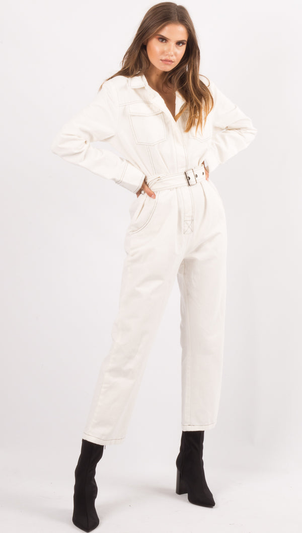 vagabond Off White Jumpsuit