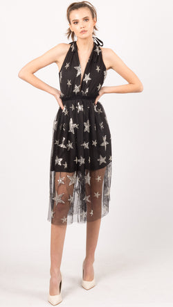 Black Star Embroidered Mesh Midi Dress